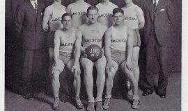 "JHS basketball team. Salvatore ""Jim"" Foti, first row, far right. 1930-31."