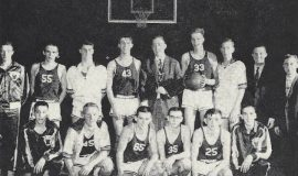 1961 Panama Central School basketball Class C section 6 champions. Front row, left to right: Jon Rowe, Duane Faulkner, Bill Nordblum, Lee Hitchcock, Bruce Manwaring, Chuck MacDonnell. Back row, left to right: Jim Sard, Paul Seekins, Claude Diemwe, Errol Swanson, Jim McElrath, Randy Otander, Ron Morse, Brady Fulmer, Tim Dalrymple.