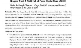 2011 Niagara Track & Field Hall of Fame press release,  page 1.