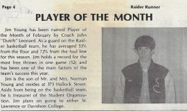 Player Of The Month. <em>, Jamestown High School, February 1972.</em>