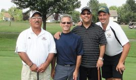 Joe Mistretta, left, Ricci D'Angelo, Rich Pinciaro and Keith Martin were the Men's Division champions at the Charity Golf Classic to benefit the St. Susan Center at Chautauqua Golf Club in 2011.