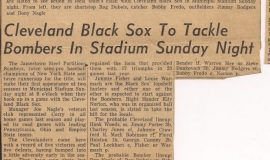 Cleveland Black Sox To Tackle Bombers In Stadium Sunday Night