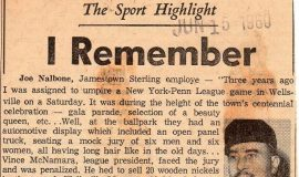 The Sport Highlight I Remember. June 15, 1960.