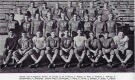The 1942 Jamestown High School football team included Joe Sanfilippo, last on right in the first row.