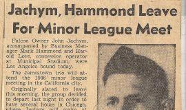 Jachym, Hammond Leave For Minor League Meet. December 1, 1946.