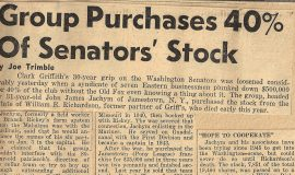 Group Purchases 40% Of Senators' Stock.  December 23, 1949.