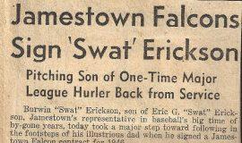 Jamestown Falcons Sign 'Swat' Erickson.  February 8, 1946.