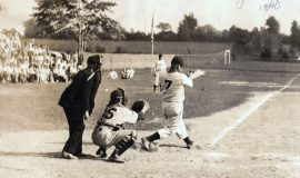 John Newman at bat in Allen Park, 1940.