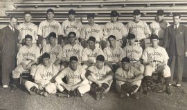 1941 Jamestown Falcons. Top row (left to right): Harry Bisgeier (owner), Johnny Newman, Dick Schmidt, Walt Balash, Pete Angell, Frank Carswell, Frank Smrekar, Earl Rapp, Samuel Amico (business manager) Middle row: Wilbur Hardin, Johnny O'Neil, Frank Heller, Greg Mulleavy (manager), Stan Rogola, Allen Haskell, Duane Shaffer Bottom row: Johnny Pollock, Bob Swanson, Ray Borowicz, Jack Gallagher (batboy).