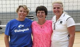 Panama volleyball coach Tammy Hosier, left, is pictured with former coach Deb Palmer, center, and Duke University coach Jolene Nagel.