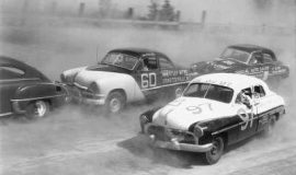 Jim Paschal driving Buesink's 1950 Ford #60 at a race in Macon, Georgia where he finished third, 1951.