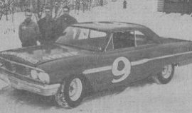 Newspaper photo of Buesink's 1965 ARCA Ford prior to it's trip to Daytona.