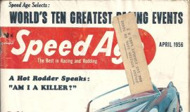 The cover from the April 1956 issue of Speed Age with Julian Buesink mailing label.