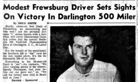 Modest Frewsburg Driver Sets Sights On Victory In Darlington 500 Miler. August 21, 1958.