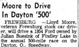 Moore to Drive In Dayton '500'. September 17, 1954.