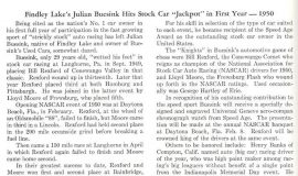 "Findley Lake's Julian Buesink Hits Stock Car ""Jackpot"" in First Year - 1950."