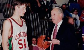 Justin Johnson and JHS principal Jim McElrath.