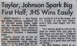 Taylor, Johnson Spark Big First Half; JHS Wins Easily. January 11, 1992.