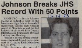Johnson Breaks JHS Record With 50 Points. December 14, 1993.