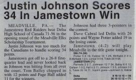 Justin Johnson Scores 34 In Jamestown Win. December 28, 1993.