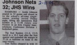 Johnson Nets 32; JHS Wins. February 11, 1994.