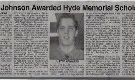 Johnson Awarded Hyde Memorial Scholarship. June 24, 1994.