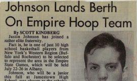 Johnson Lands Berth On Empire Hoop Team. August 1992.