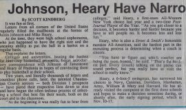 Johnson, Heary Have Narrowed Their College Choices. October 30, 1993.