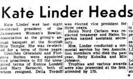 Kate Linder Heads Bowlers. May 15, 1952.