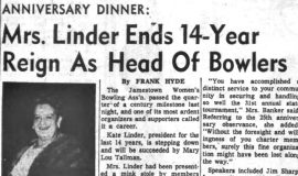 Mrs. Linder Ends 14 Year Reign As Head Of Bowlers. May 28, 1964.