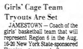 Girls' Cage Team Tryouts Are Set. June 19, 1978.