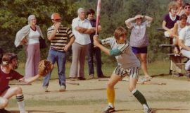 Kay Gould prepares to take a swing.