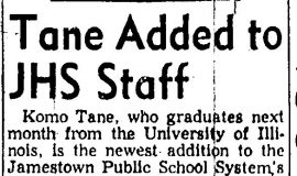 Tane Added to JHS Staff. 1956.