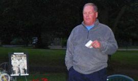Bob Schmitt at Lyle Parkhurst's  gravesite.