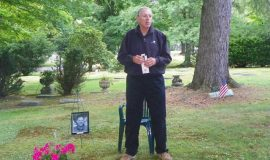 Steve Bishop at his father Ben Bishop's gravesite.