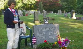 Verna Feather, wife of Dan Feather, at his gravesite.