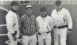 Larry Rodgers, second from left. Rich Stadium 1979.
