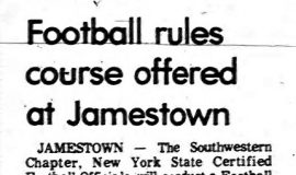 Football rules course offered at Jamestown. March 18, 1976.