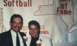 Leda Peterson being inducted into Western New York Softball Hall of Fame in 1996.