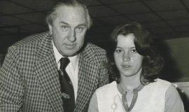 Harry Breski signs Leda Peterson to the National Women's Softball League