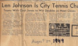 Len Johnson Is City Tennis Champ. August 29, 1949.
