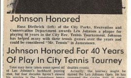 Johnson Honored For 40 Years Of Play In City Tennis Tourney. September 3, 1981.
