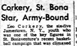 Corkery, St. Bona Star, Army-Bound.  April 8, 1952.