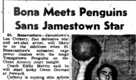 Bona Meets Penguins Sans Jamestown Star. January 26, 1952.