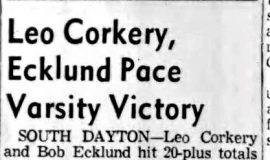 Leo Corkery, Ecklund Pace Varsity Victory.  December 6, 1956.