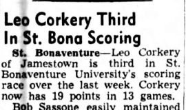 Leo Corkery Third In St. Bona Scoring. February 2, 1951.