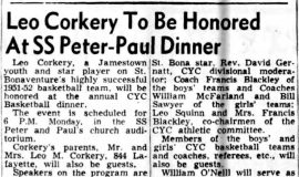 Leo Corkery To Be Honored At SS Peter-Paul Dinner. March 22, 1952.