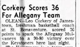 Corkery Scores 36 For Alle gany Team. March 22, 1956.