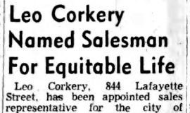 Leo Corkery Named Salesman For Equitable Life.  August 21, 1956.