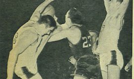 Leo Corkery, left, during college playing days at St. Bonaventure.